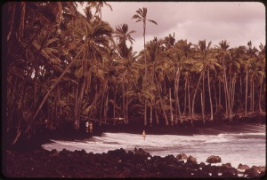 Famous Black Sand Beach at Kaimu Created By Lava Runoff