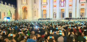 cnn photo sea of cameras Pope francis