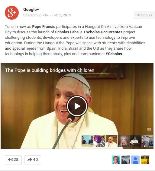pope google hangout